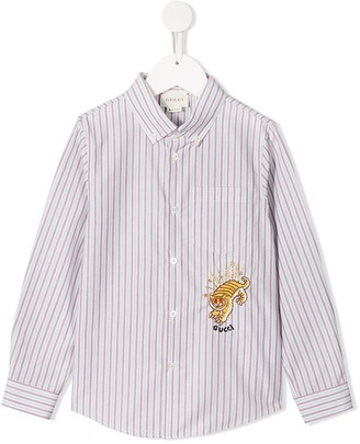 Gucci Kids Tiger Embroidered Button Down Shirt