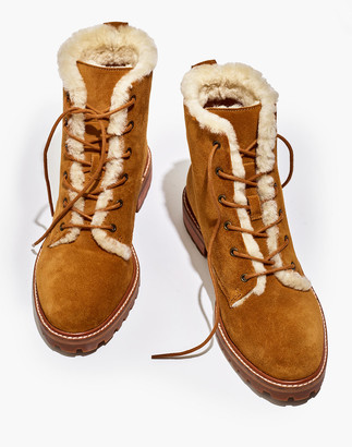 Madewell The Clair Lace-Up Boot in Shearling-Lined Suede