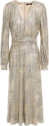 Badgley Mischka Pleated Metallic Knitted Midi Dress