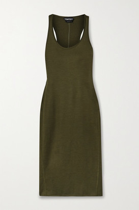 Tom Ford Stretch-wool Midi Dress - Army green