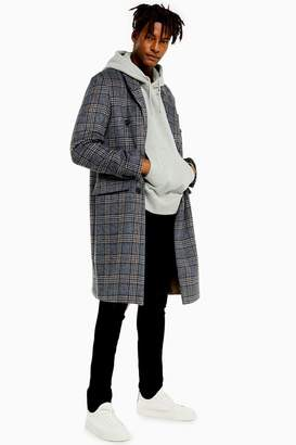 Topman Mens Double Breasted Check Coat - Grey
