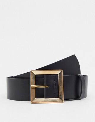 ASOS DESIGN leather bevelled square buckle hip and waist belt in black