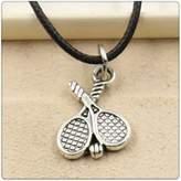 Nobrand No brand Fashion Tibetan Silver Pendant tennis racket Necklace Choker Charm Black Leather Cord Handmade Jewlery
