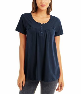 QUALFORT Womens Henley Shirts V Neck Blouse Casual Summer Tunic Tops Navy X-Large