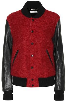 Saint Laurent Wool, mohair and leather varsity jacket
