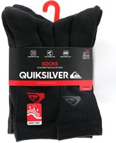 Quiksilver Men's Crew Cut Sport Socks - Pack of 6 Pairs (Black in Three Styles)