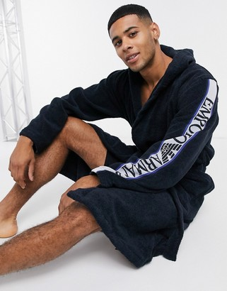 Emporio Armani Loungewear arm taped logo terry dressing gown in navy