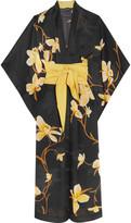 Carine Gilson Printed Silk-chiffon Kimono - Black