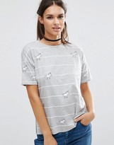 Asos Top with Unicorn Badges in Stripe
