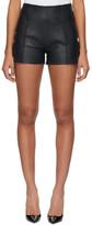 Victoria Victoria Beckham Navy Leather Pin Tuck Shorts