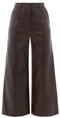 Dodo Bar Or Magen Leather Wide-leg Trousers - Black
