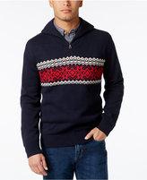 Weatherproof Men's Big and Tall Quarter-Zip Fair Isle Sweater, Classic Fit