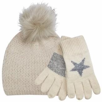 Teddyts Womens Fluffy Soft Knit Bobble Hat & Star Gloves Thermal Winter Set (Oats & Cream)