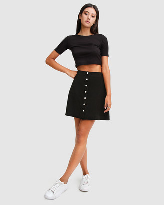 Belle & Bloom Women's Black Mini skirts - Into The Woods Leather Mini Skirt - Size One Size, S at The Iconic