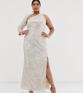 Club L London Plus sequin one shoulder maxi dress