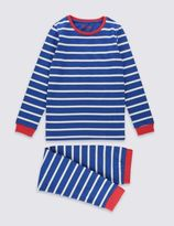 Marks and Spencer Cotton Rich Skinny Fit Striped Pyjamas (1-16 Years)