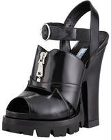 Prada Zip-Front Lugged Platform Sandal