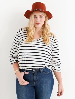 Lucky Brand Stripe Blouson Sleeve Top
