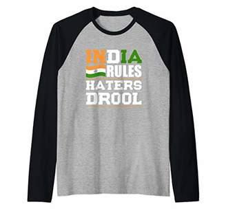 India Rules Haters Drool Nationality Raglan Baseball Tee