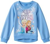 "Disney Disney's Frozen Anna & Elsa Girls 7-16 ""Make Every Adventure Amazing"" French Terry Top"