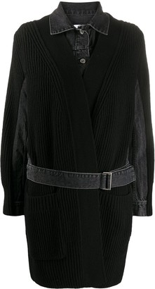 Sacai Ribbed-Panel Denim Coat