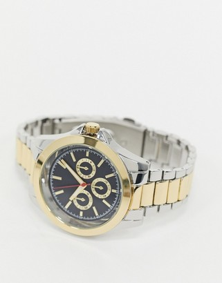 Topman bracelet watch in gold with blue dial