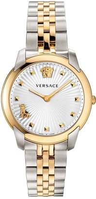 Versace Audrey Silver and Gold Detail Dial Two Tone Stainless Steel Bracelet Ladies Watch