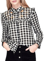 Miss Selfridge Embroidered Buttondown Gingham Shirt