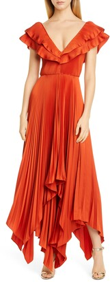 Flor Et. Al Tampico Ruffle Pleat Asymmetrical Gown