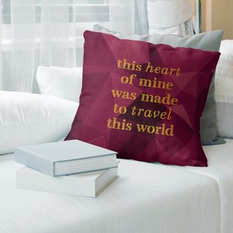 "East Urban Home Faux Gemstone Travel Love Quote Pillow Cover Size: 16"" x 16"", Color: Spinel/Gold"