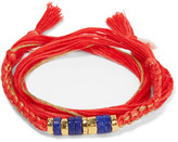 Aurelie Bidermann Takayama Gold-plated, Lapis Lazuli, Coral And Cotton Bracelet - Red