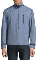 Brioni Leather-Trim Solid Jacket
