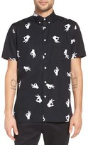 Barney Cools Men's 'A.o.k.' Trim Fit Print Woven Short Sleeve Shirt