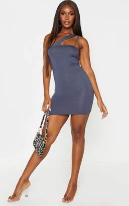 PrettyLittleThing Terracotta Double Asymmetric Strap Bodycon Dress