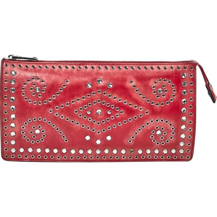 Prada Red Leather Clutch Bag