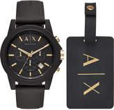 Armani Exchange Men's Chronograph Outerbanks Black Silicone Strap Watch 45mm Gift Set