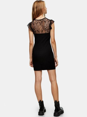 Topshop Lace And Ponte Mix Mini Dress - Black