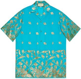 Gucci Lame fil coupe oversize bowling shirt