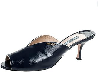Prada Blue Saffiano Leather Peep Toe Mules Size 41