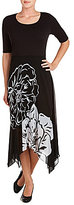 Peter Nygard Printed Overlay Short Sleeve Asymmetric Hem Dress