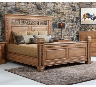 Dick Idol Collection Aspen Americana Carved Mahogany Bedframe