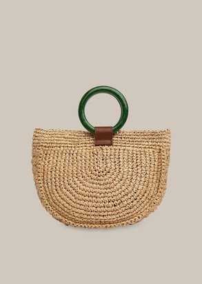 Selby Straw Half Moon Bag