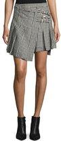 McQ Houndstooth Wool Wrap Kilt Skirt