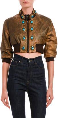 Dolce & Gabbana Turquoise Jeweled Distressed Leather Jacket