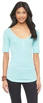 Mossimo Women's Elbow Sleeve Henley Juniors')