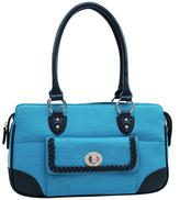 Dasein Blue Matte Croc-Embossed Shoulder Bag