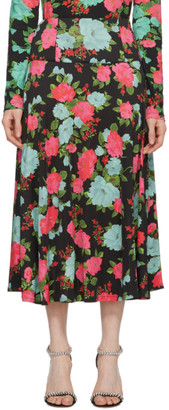 Erdem Black and Pink Elvin Skirt