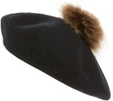BP Felted Wool Blend Beret with Faux Fur Pom