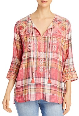 Johnny Was Thora Nomad Plaid Top