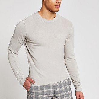 River Island Stone long sleeve slim fit knitted top